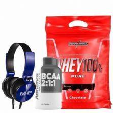 Whey 100% Pure - 907g Chocolate + Bcaa 60 Cápsulas + Fone de Ouvido Azul - MHP