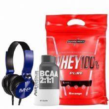 Whey 100% Pure - 907g Morango + Bcaa 60 Cápsulas + Fone de Ouvido Azul - MHP