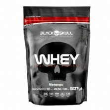 Whey 100% Whey Protein - 837g Refil Morango - Black Skull