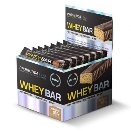 Whey Bar High Protein - 24 Unidades 40g Amendoin - Probiótica no Atacado