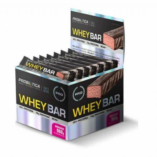 Whey Bar High Protein - 24 Unidades 40g Morango - Probiótica no Atacado