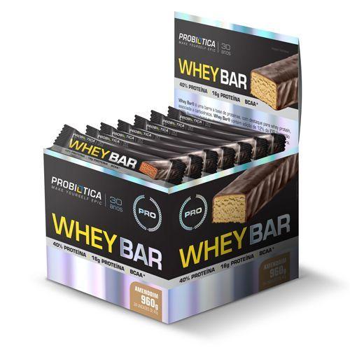 Whey Bar High Protein - 24 unidades Amendoin - Probiótica
