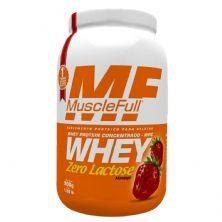 Whey Concentrado Zero Lactose - 900g Morango - MuscleFull