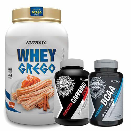 Whey Grego 900g Churros + Caffeine 60 Cápsulas + BCAA 60 Cápsulas - Nutrata no Atacado