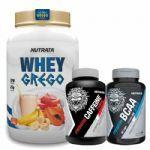 Whey Grego 900g Vitamina de Frutas + Caffeine 60 Cápsulas + BCAA 60 Cápsulas - Nutrata no Atacado