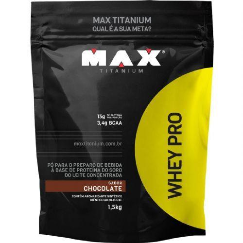 Whey Pro - 1500g Refil Chocolate - Max Titanium no Atacado