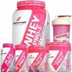 Whey PRO-F 900g Morango - BCAA 90 Cáps + Thermogenic 60 Tabletes + Pré Treino 100g + Colágeno 300g + Coqueteleira - Body Action