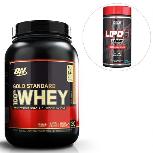 ce09d5a38 Kit Whey Protein 100% Gold Standard - 909g Doce de Leite + Lipo 6 Black ...